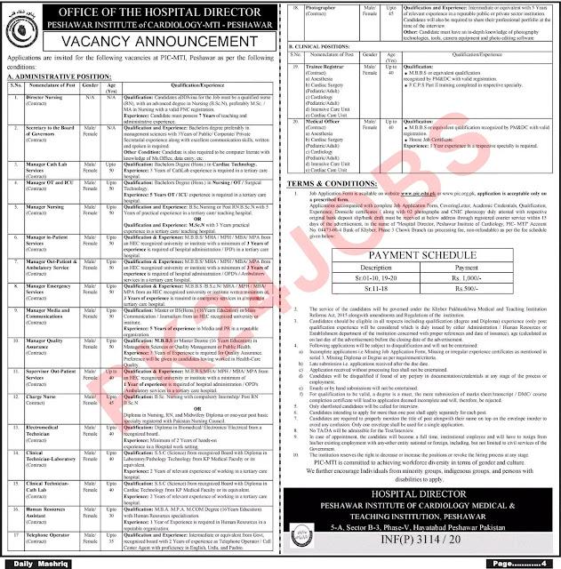 Peshawar-Institute-of-Cardiology-PIC-MTI-Jobs-28-Aug-2020