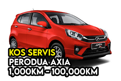 Kos Servis Perodua Axia 1000km - 100000km
