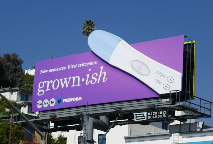 Grownish season 3 Positive pregnancy test billboard