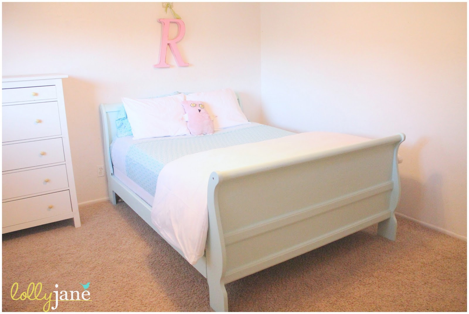 We finished in the knick of time and my 8 year old is loving her new robin  egg blue sleigh bed. Robin egg blue sleigh bed