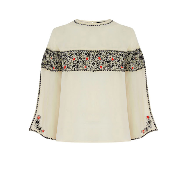 warehouse embroidered top, cream panel top,