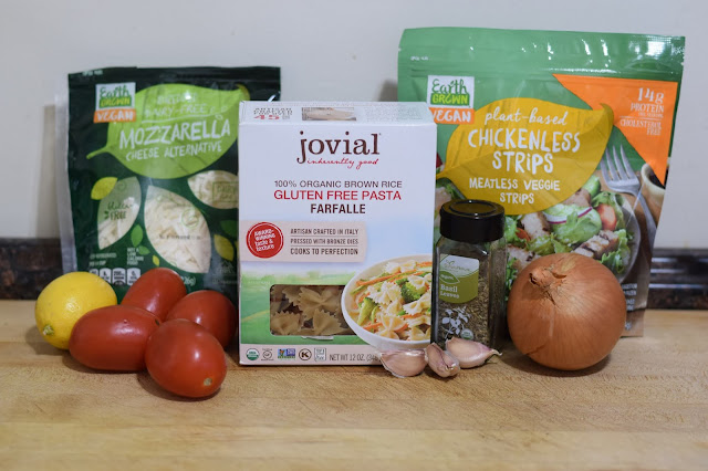 The ingredients needed to make the Vegan Instant Pot Chik'n Bruschetta Pasta Recipe