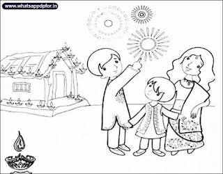 drawing pictures of diwali festival, diwali drawing pictures for kids