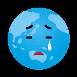 地球のイラスト(泣いた顔)