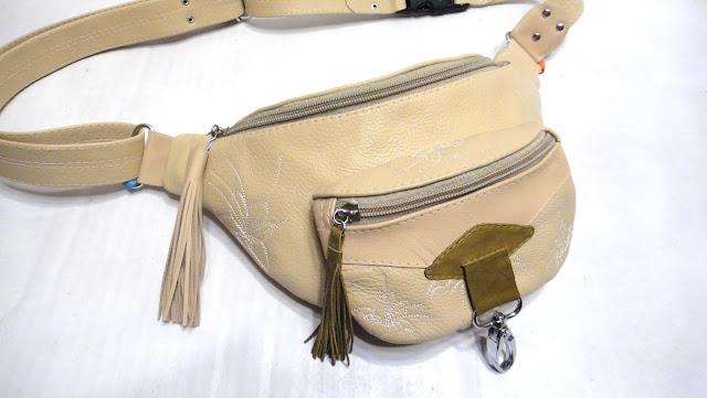 Кожаная женская сумка на пояс в стиле бохо. Цвет на усмотрение заказчика, ручная работа. Доставка почтой или курьером