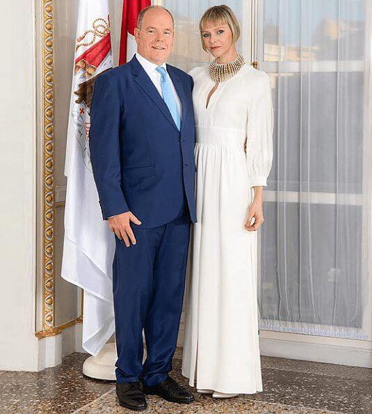 Princess Charlene, Prince Albert, Hereditary Prince Jacques and Princess Gabriella. Charlene wore a dress from Dior