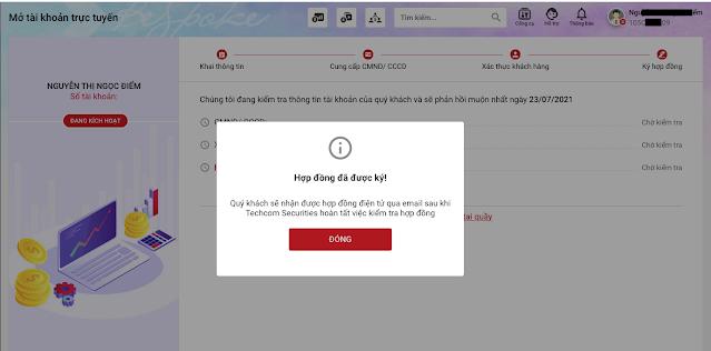 Ky hop dong online mo tai khoan giao dich chung khoan Techcombank