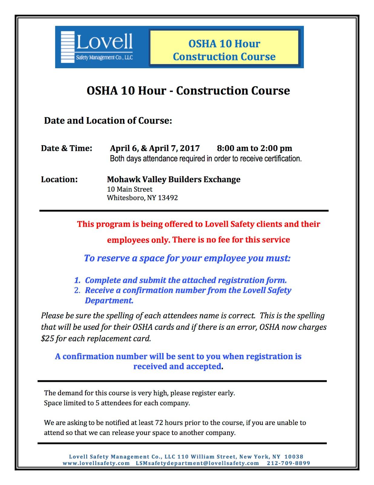 Safety Pays Osha 10 Hour Course April 6 April 7 In Whitesboro Ny