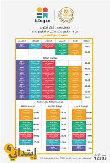 مواعيد و جدول الحصص التعليمية على قناة مدرستنا