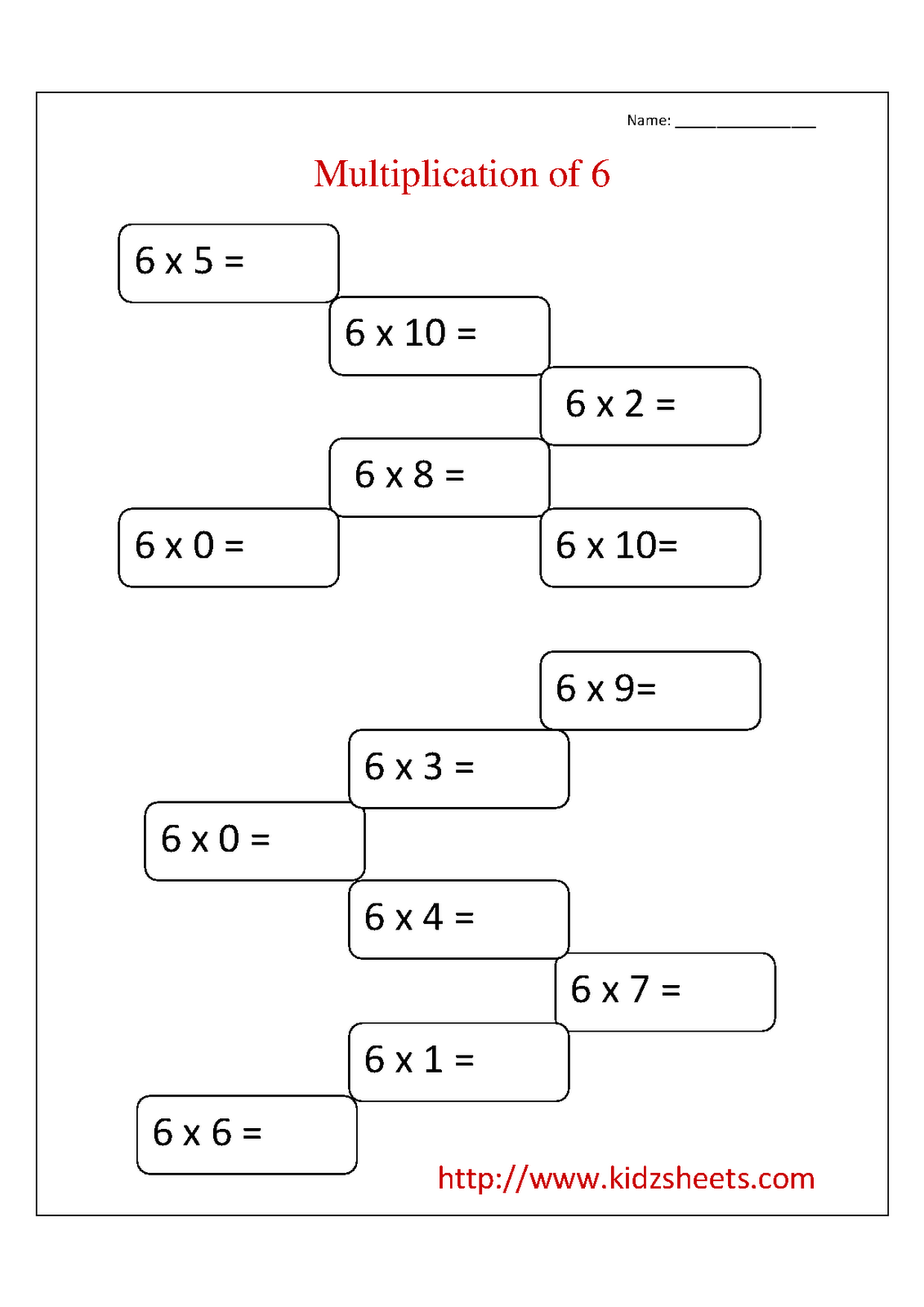 Kidz Worksheets Second Grade Multiplication Table 6