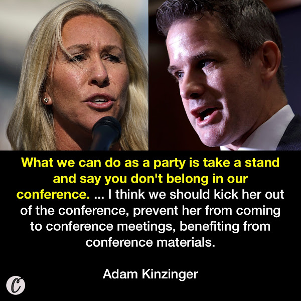 What we can do as a party is take a stand and say you don't belong in our conference. ... I think we should kick her out of the conference, prevent her from coming to conference meetings, benefiting from conference materials. — Adam Kinzinger