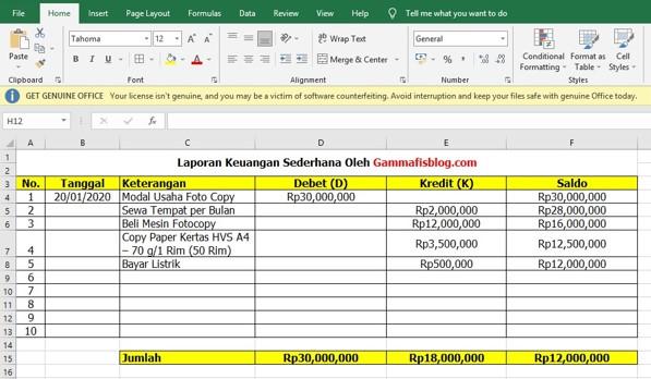 Cara Membuat Laporan Keuangan di Excel