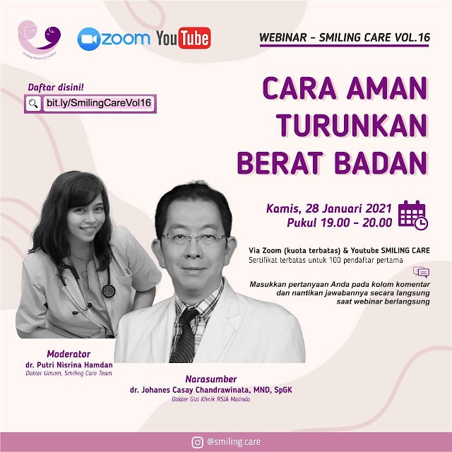 """Gratis Sertifikat SMILING CARE WEBINAR VOL.16    """"Cara Aman Turunkan Berat Badan"""""""