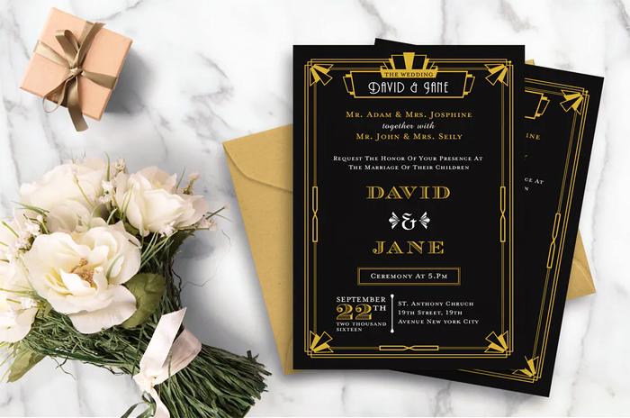 Art Deco Ticket Wedding Invitation Ai and Psd Bundle  2