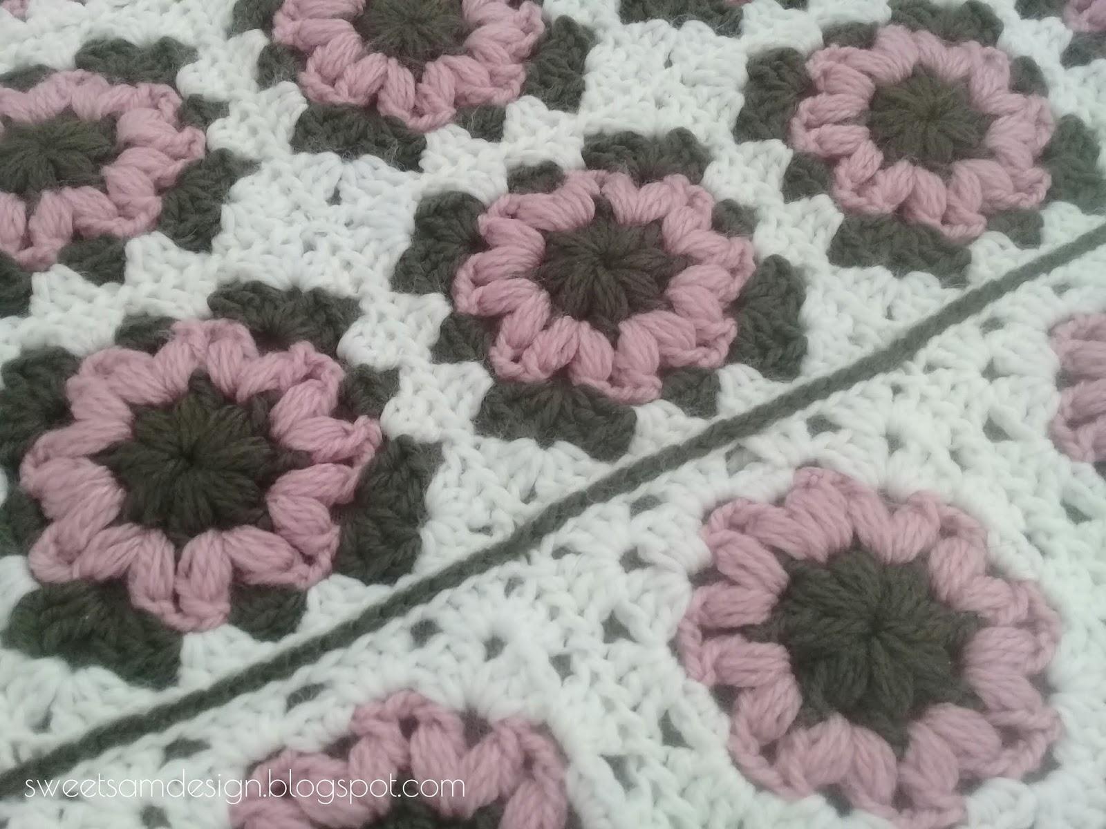 ROSE Carré de Mamie Motif au Crochet (explications et grille gratuites)