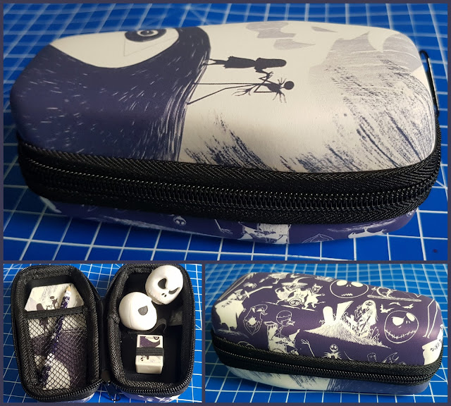 Nightmare Before Christmas Jack Skellington pencil case collage showing top bottom and inside