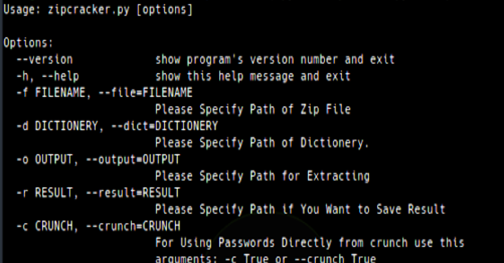 Zip Cracker : Python Script To Crack Zip Password With Dictionary Attack