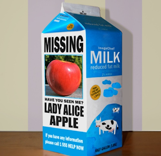 "Milk carton with ""missing"" notice for Lady Alice"