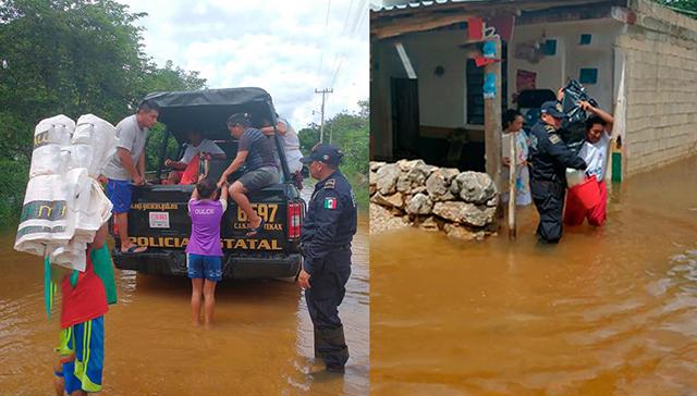 Inundaciones en el Sur: policías rescatan a 57 familias de 40 viviendas