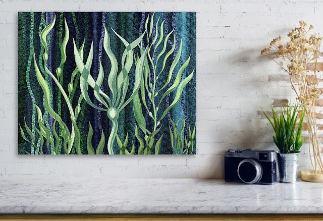 Under The Sea Seaweed Watercolor Collage by Irina Sztukowski