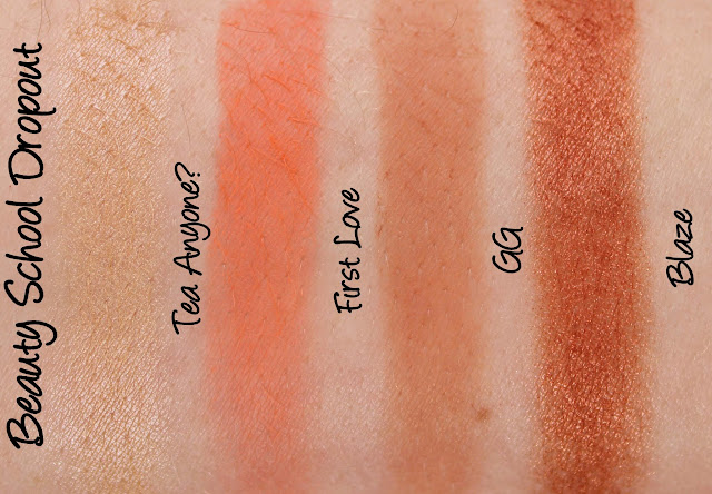Beauty School Dropout Eyeshadows - Tea Anyone?, First Love, GG and Blaze Swatches & Review