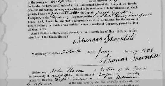 Frequent Traveler Ancestry: Pension File for Thomas Thornhill