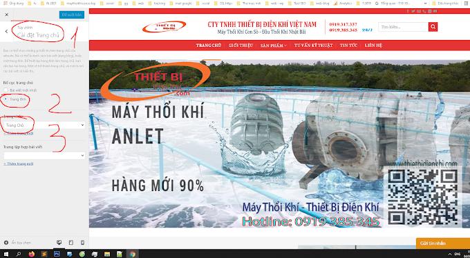 Thiết lập theme website máy thổi khí con sò top