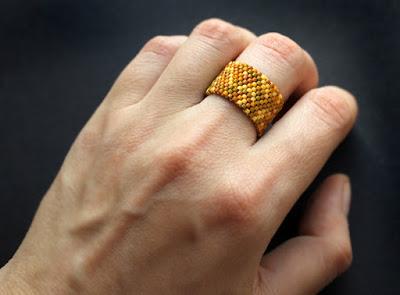 купить широкое кольцо на палец бисерные изделия магазин каталог