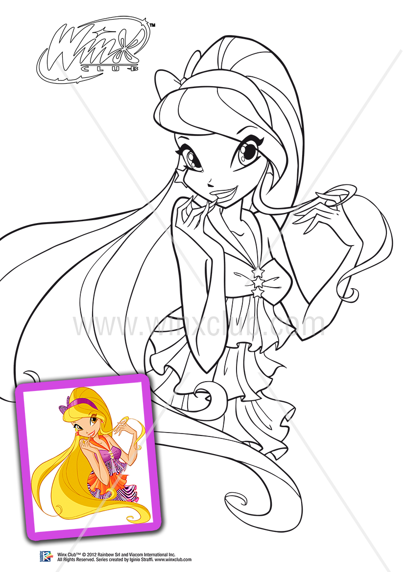 Winx Club Stella Harmonix Coloring Pages Colorings Net