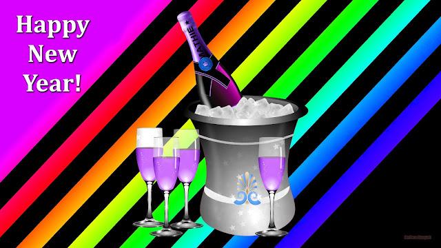 Happy newyear wallpaper met emmer met ijs en een fles champagne er in. En glazen met iets paars erin.