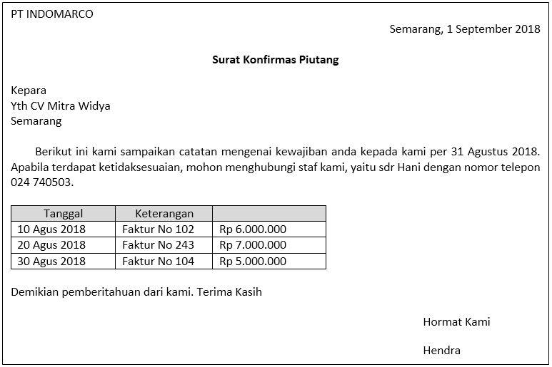 Konfirmasi Saldo Piutang Contoh Soal Surat Jenis