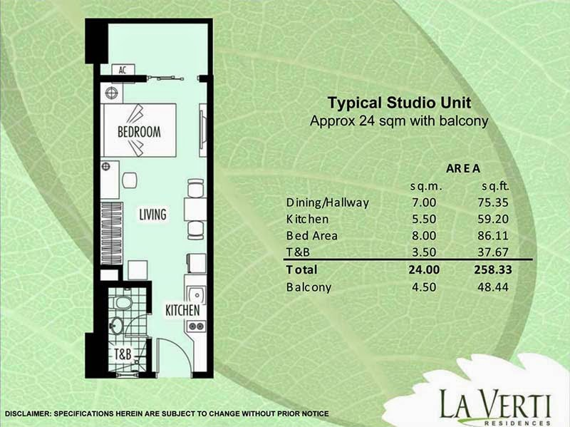La Verti Residences Studio Unit 28.50 sqm