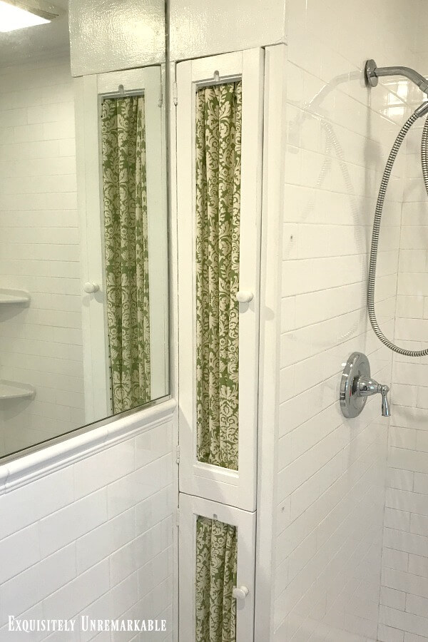 Shutter Doors with fabric added in the bathroom