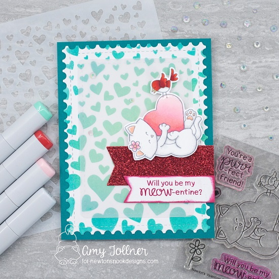 Will you be my meow-entine? by Tumbling Hearts, Framework, Frames & Flags, Newton's Valentine by Newton's Nook Designs; #newtonsnook, #inkypaws, #valentinescards, #cardmaking