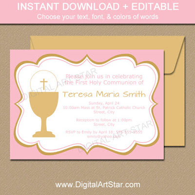 printable pink & gold first communion invitation template for girls