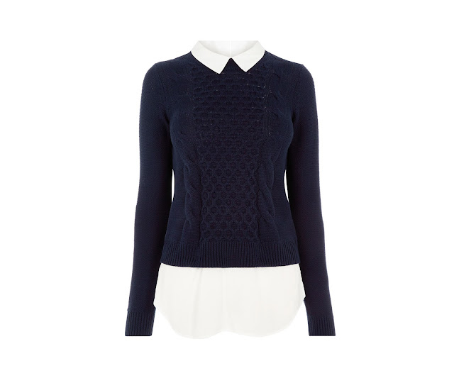 navy jumper white shirt, oasis navy jumper,