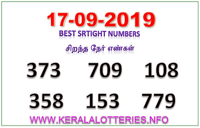 Kerala Lottery Result Guessing Sthree Sakthi SS-175 Best Straight Numbers 17.09.2019