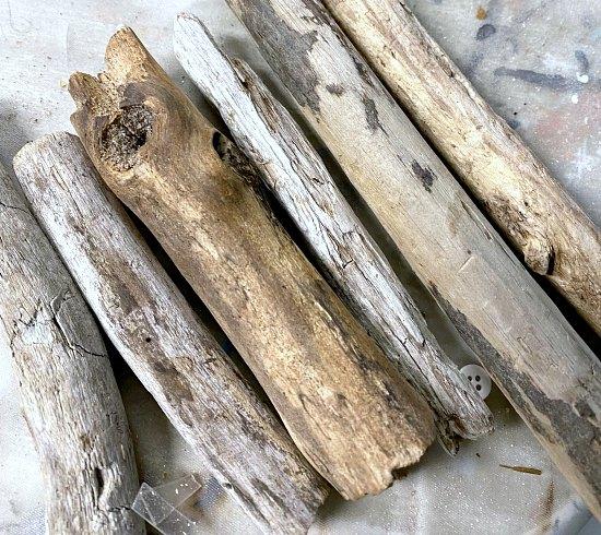 DIY garden mushrooms made with driftwood stems
