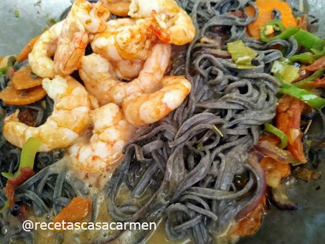 Espaguetis con verduras. Reto tus recetas