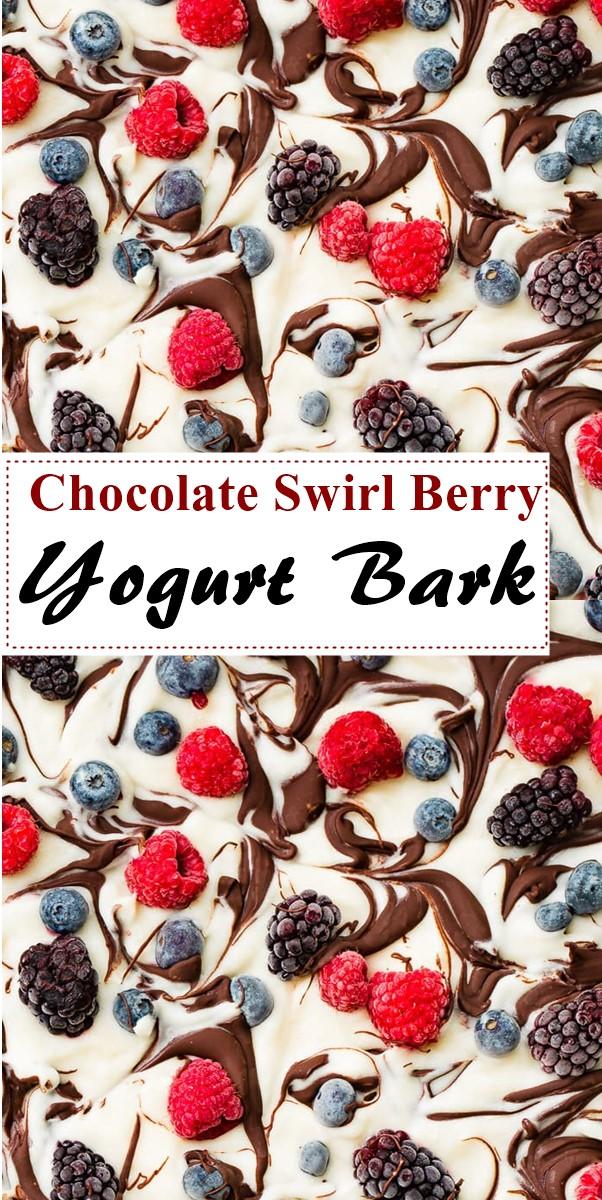 Healthy Chocolate Swirl Berry Yogurt Bark #dessertrecipes