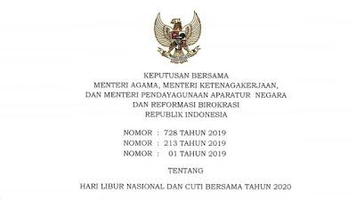 SKB tentang Hari Libur Nasional dan Cuti Bersama Tahun 2020