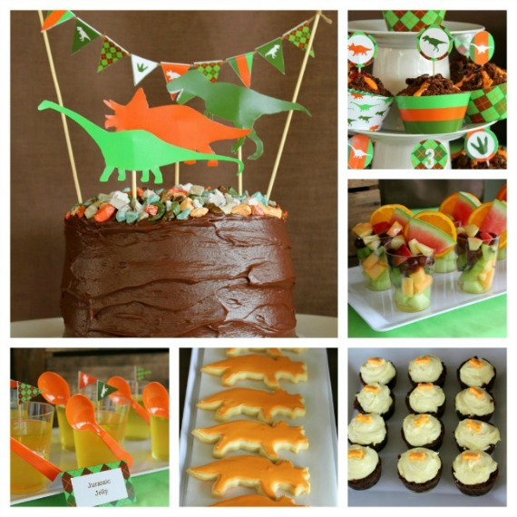 kids party food at dinosaur party with birthday cake and cupcakes
