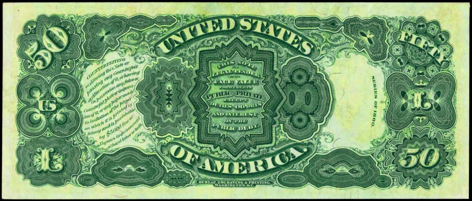 United States Notes 1880 Fifty Dollar Legal Tender Note