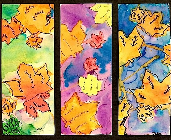 water colour autumn leaves art project