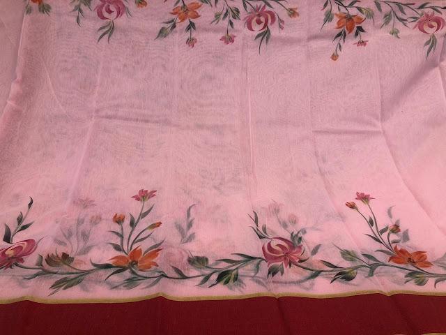Handprinted Pink Chanderi saree