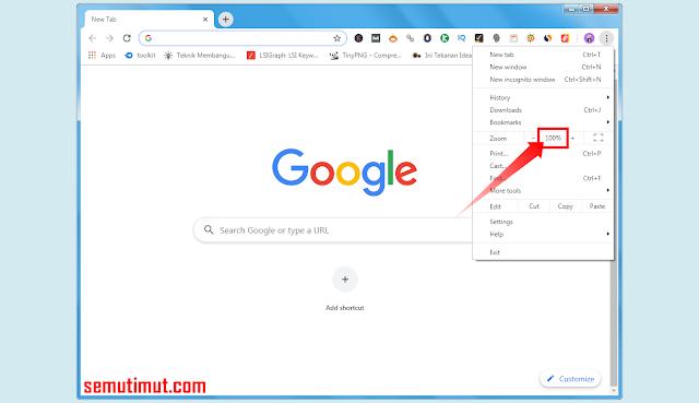 cara memperkecil tampilan layar google chrome