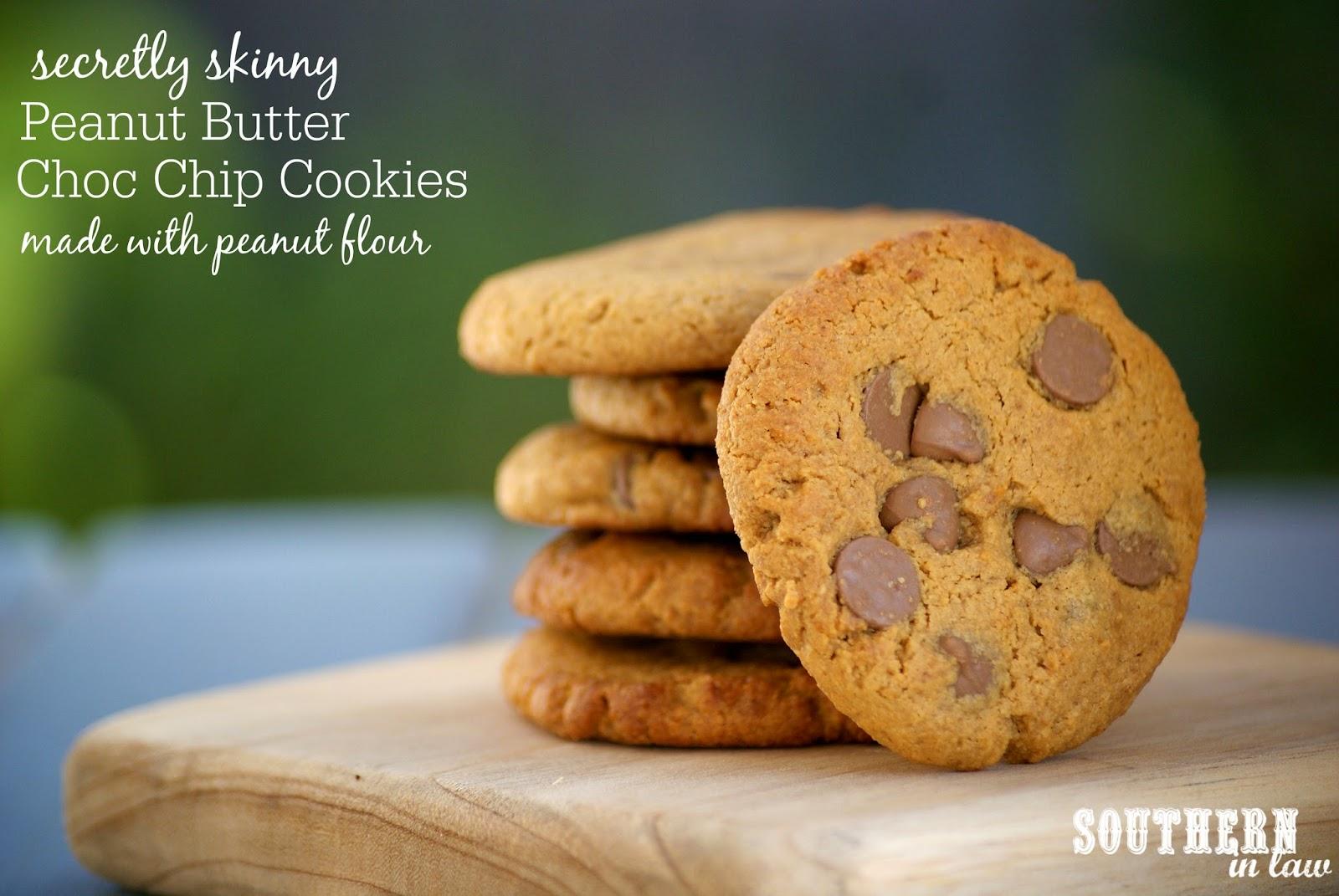 Low Fat Peanut Butter Chocolate Chip Cookie Recipe - low fat, gluten free, healthy, low sugar - Peanut Flour Cookies Recipe