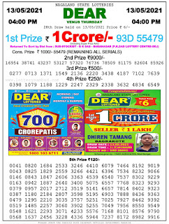 Sikkim State Lottery Result Today 13.05.2021