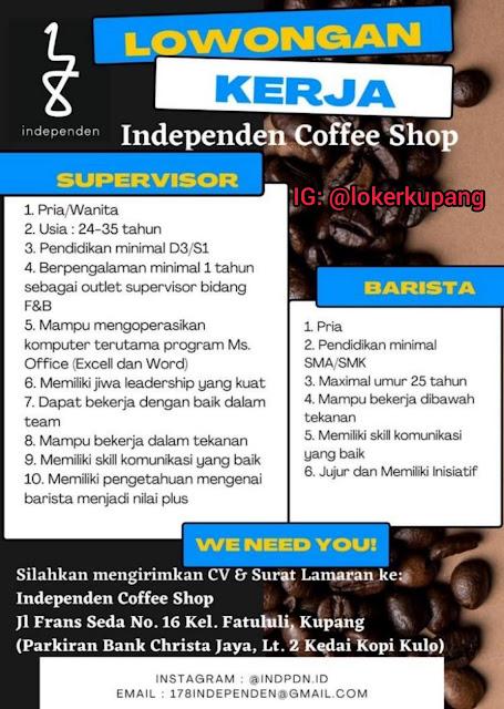 Loker Kupang di Independen Coffee Shop Sebagai Supervisor dan Barista