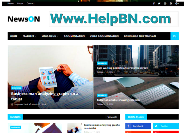 Premium Version NewsOn Magazine Blogger Template Free Download Without Footer Credit